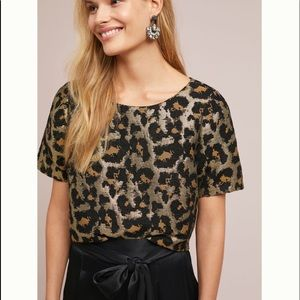 Anthropologie Leopard quilted keyhole back Top NWT